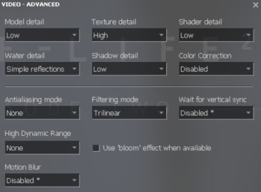 Source video settings
